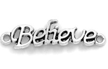 Believe Silver Pewter Connector Charm  Set of 4