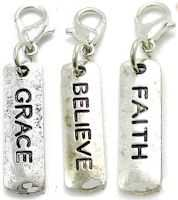 Faith, Grace, Believe Lobster Claw Charms (Pkg of 3)