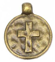 Bronze Cross Charms Round
