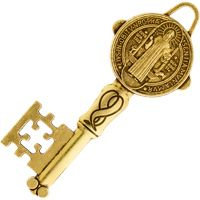 St. Benedict Antique Gold Key Charm