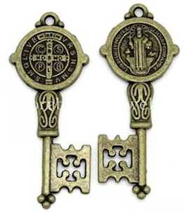 St. Benedict Antique Bronze Key Charm