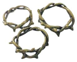 Crown of Thorns Bronze Charms (Pkg of 3)