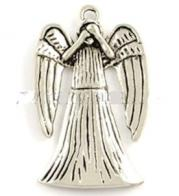 Angel Praying Silver Charm Covered Face