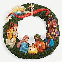 Nativity Wreath Wall Hanging   12 Inch