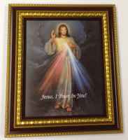 Divine Mercy Picture in Cherry Frame