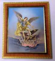 St. Michael Picture in Cherry Frame