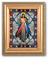Divine Mercy - Stained Glass - Framed
