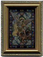 St. Michael - Stained Glass - Framed