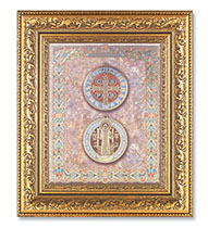 St Benedict in Detailed Gold Leaf Frame