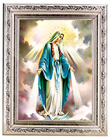 Our Lady of Grace Print n Antique Silver Frame