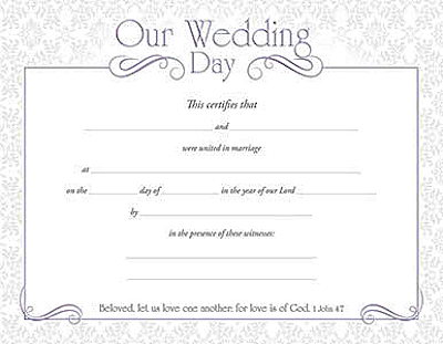 Our Wedding Day Certificate (Pkg of 6)
