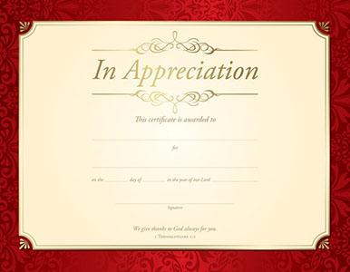 In Appreciation Certificate (Pkg of 6)