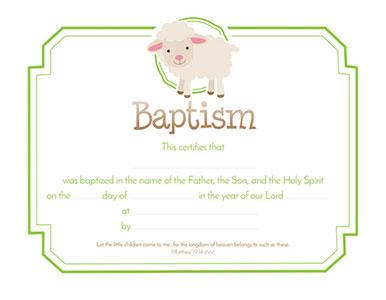 Baptism Certificate (Pkg of 6) Matthew 19:14