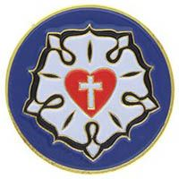 Lutheran Rose Pin with White Cross
