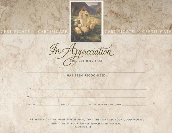 In Appreciation Certificates / Bible Quote - Pk of 6