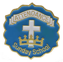 Cross and Crown Blue 9 Month Attendance Pin