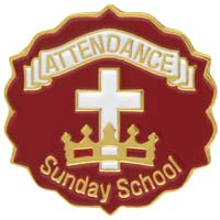 Cross and Crown Red 6 Month Attendance Pin