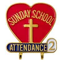 Sunday School Attendance Year 2 Pin Heart Shaped