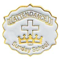 Cross and Crown White 12 Month Attendance Pin