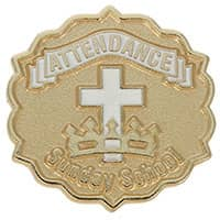 Cross and Crown Gold 3 Month Attendance Pin