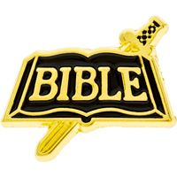 Sword and Bible Lapel Pin Gold