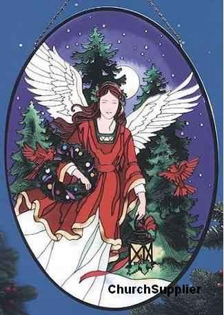 Large Christmas Angel Painting on Glass