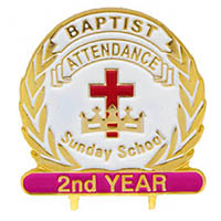 Baptist Cross and Crown Sunday School Pin Year 2