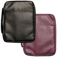 Black or Burgundy Imitation Leather Bible Cover