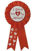 I gave my heart to Jesus Christian Award Ribbon