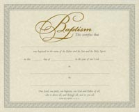 Church Parchment Baptism Certificates