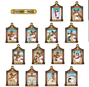 Stations of the Cross Bulletin Board Poster Set of 14, Easter