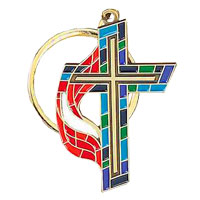 United Methodist Stained Glass Key Ring