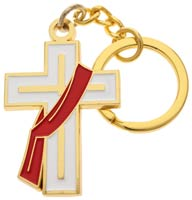 White Deacon Cross Keychain W Stole