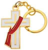 White Deacon Cross Keychain W Stole