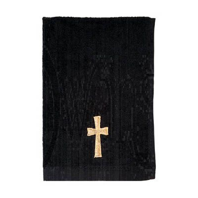 Gold Cross Pastor Black Towel