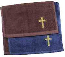 Cross Clergy Towel Navy, burgundy