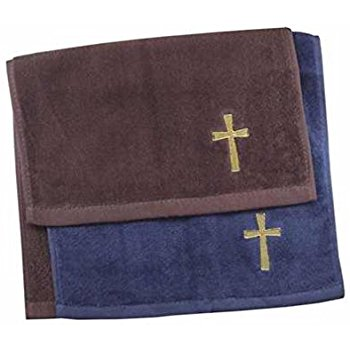 Cross Clergy Towel Navy, Burgundy