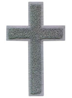 Silver Chenille Cross Jacket Patch Large