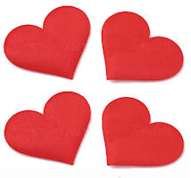 5 Red Decorative Cloth Hearts Patches Foam Center