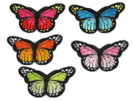Butterfly Embroidered Patches Multi-Colored (Pkg of 2)
