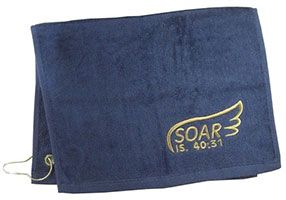 Soar Golf Towel Navy Isaiah 40:31