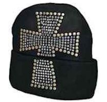 Rhinestone Studded Cross Knit Beanie