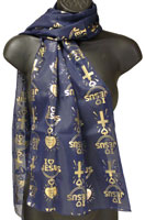 I Love Jesus Foil Scarf Black or Navy
