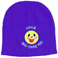 Smile God Loves You Knit Beanie Cap