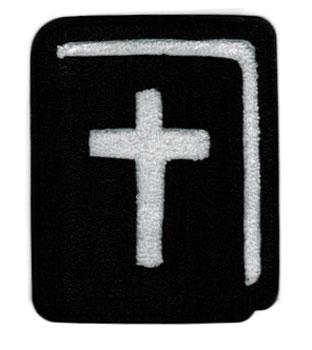 Bible Chenille Large  Varsity Patch Black