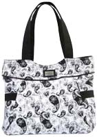 Grace Heart Black White Overnight Bag SM