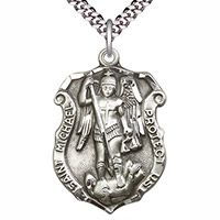 St Michael Pewter Shield Necklace