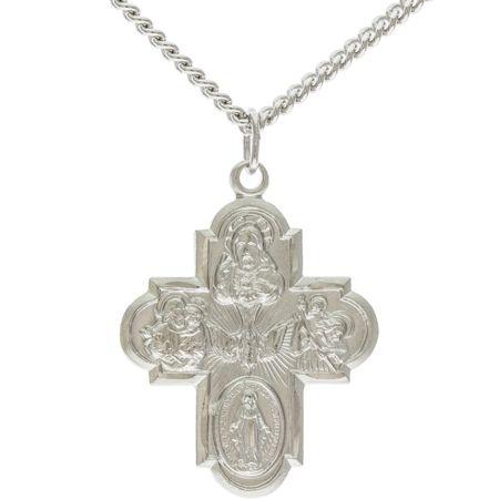 Catholic Crucifix5 Way Medal Cross Necklace