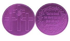 John 3:16 Easter Purple Aluminum Coin