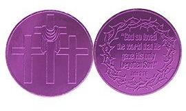 John 3:16 Easter Gift Coin Purple Aluminum